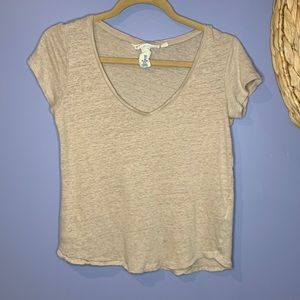 H&M Short Sleeve Top Beige Small